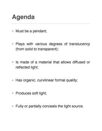 Parametric Lighting Fixture Agenda