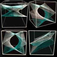 more complex shapes constructed from lines inside a cube